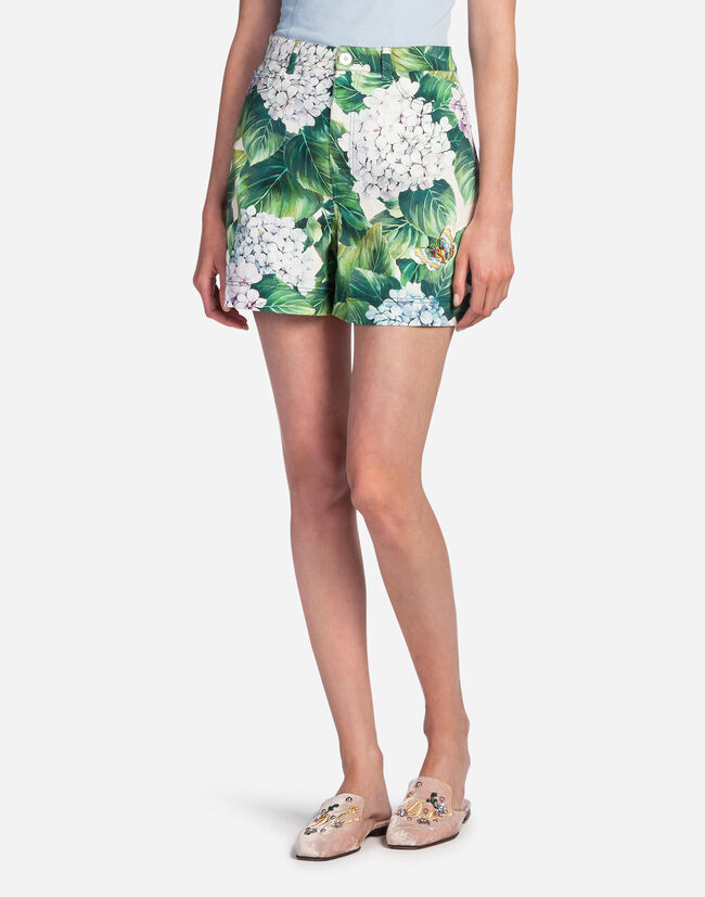 PRINTED COTTON SHORTS WITH PATCH