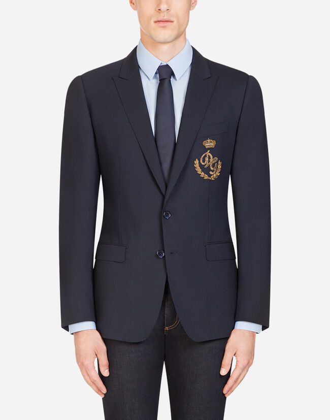 Dolce&Gabbana STRETCH WOOL MARTINI BLAZER WITH PATCH