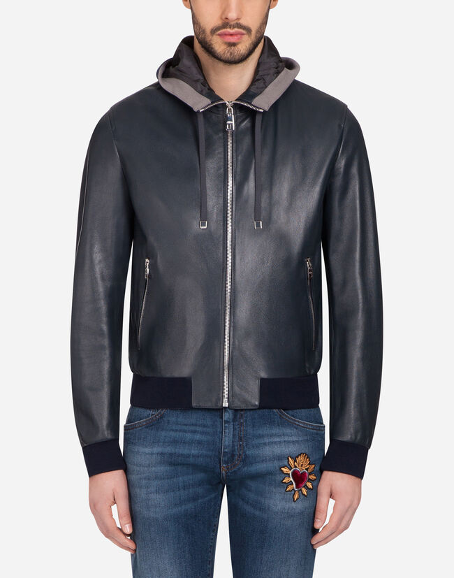 Dolce & Gabbana LEATHER JACKET WITH HOOD