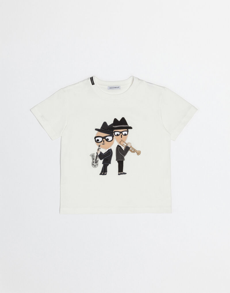 COTTON T-SHIRT WITH DESIGNERS PATCH