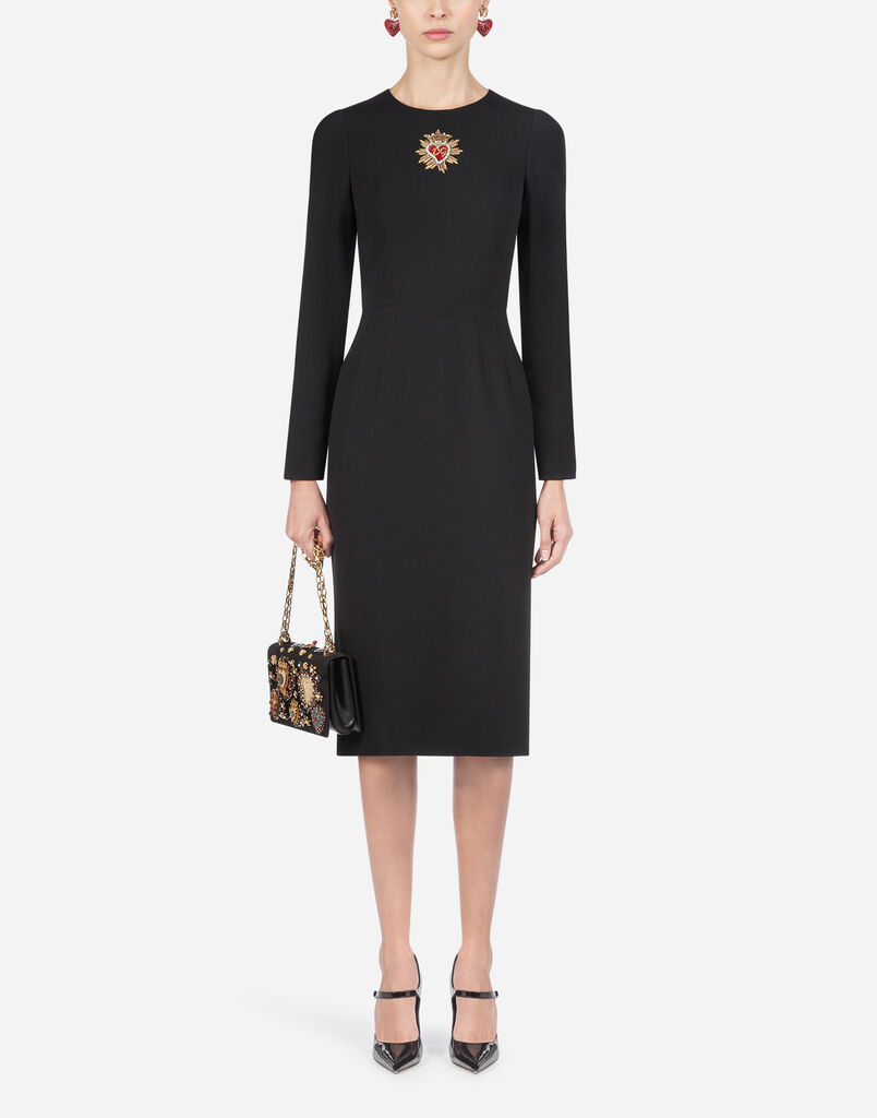 Dolce Gabbana Dress In Cady With Embroidered Heart