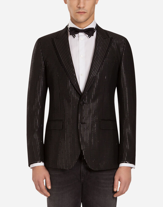 MARTINI-FIT TUXEDO BLAZER IN A BARRÉ LUREX PIN STRIPE