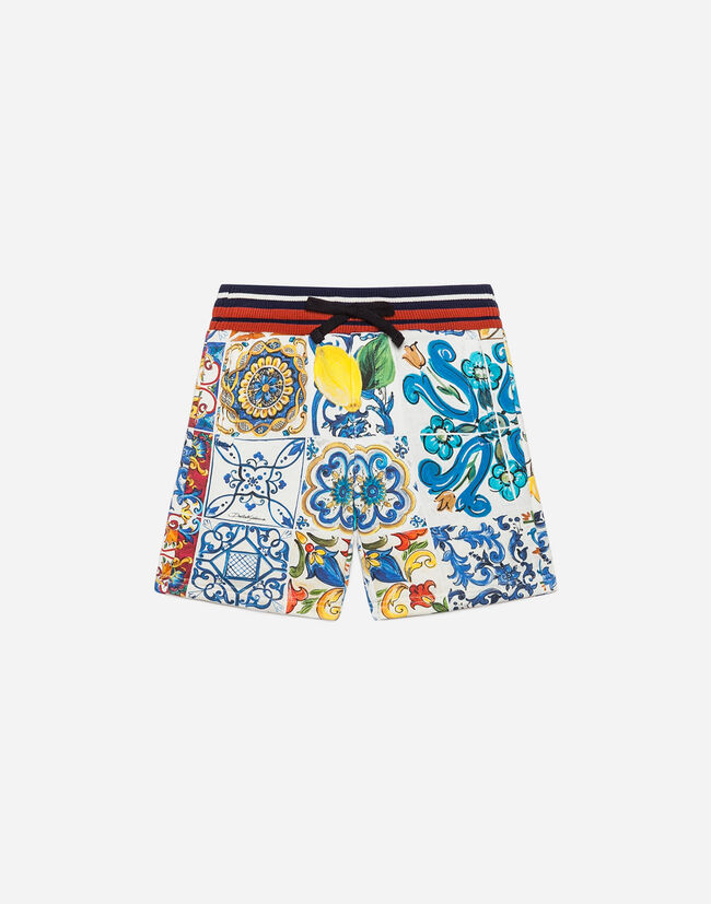 PRINTED COTTON JOGGING SHORTS