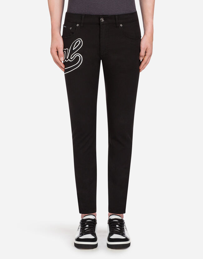 Dolce&Gabbana FIVE POCKET TROUSERS IN STRETCH COTTON WITH PATCH