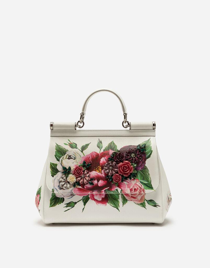 Dolce&Gabbana MEDIUM SICILY BAG IN PEONY-PRINT DAUPHINE CALFSKIN