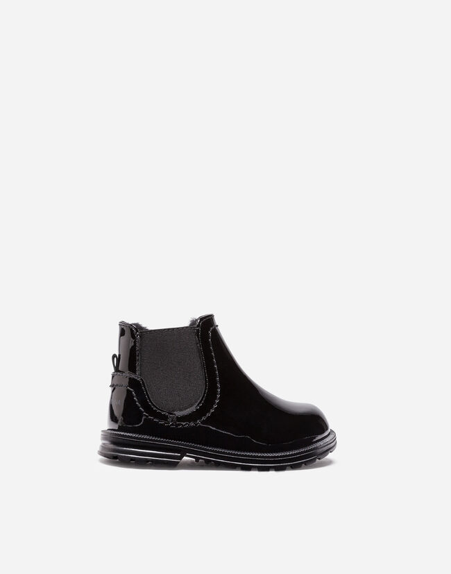 PATENT LEATHER KID'S FIRST STEPS ANKLE BOOTS