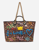 CAPRI SHOPPING BAG IN PRINTED FABRIC AND PATCH APPLICATIONS AND IGUANA PRINT CALFSKIN TRIM