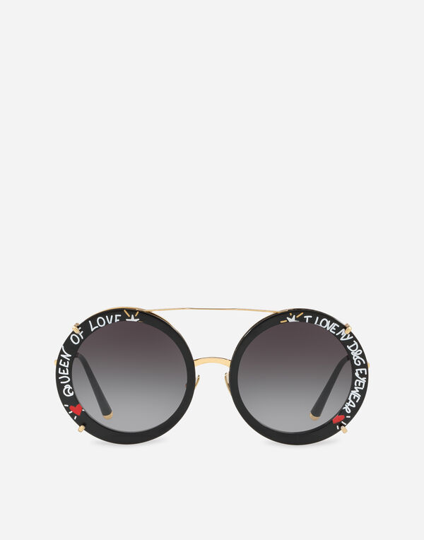 ROUND CLIP-ON SUNGLASSES IN GOLD METAL WITH GRAFFITI PRINT