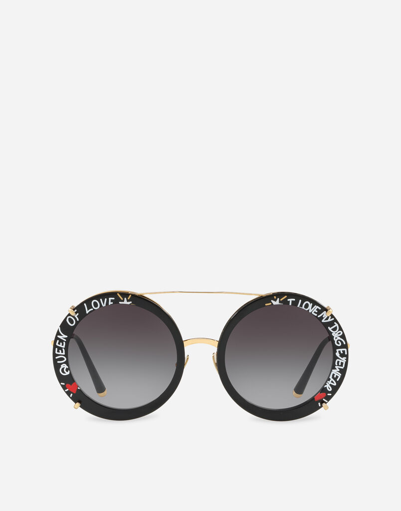 Dolce & Gabbana ROUND CLIP-ON SUNGLASSES IN GOLD METAL WITH GRAFFITI PRINT