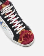 LEATHER AND BROCADE SNEAKERS WITH APPLIQUÉS