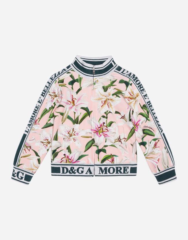 df5810b83b80 Girls' T-Shirts and Sweatshirts | Dolce&Gabbana - LILY-PRINT INTERLOCK  SWEATSHIRT
