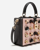DOLCE BOX BAG IN IGUANA PRINT CALFSKIN WITH DOGS EMBROIDERY