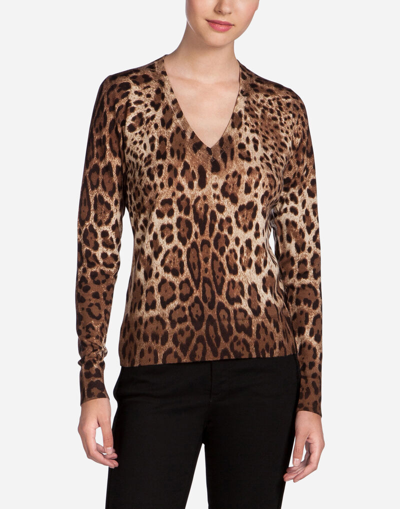 Printed V-Neck Cashmere Sweater - Women | Dolce&Gabbana