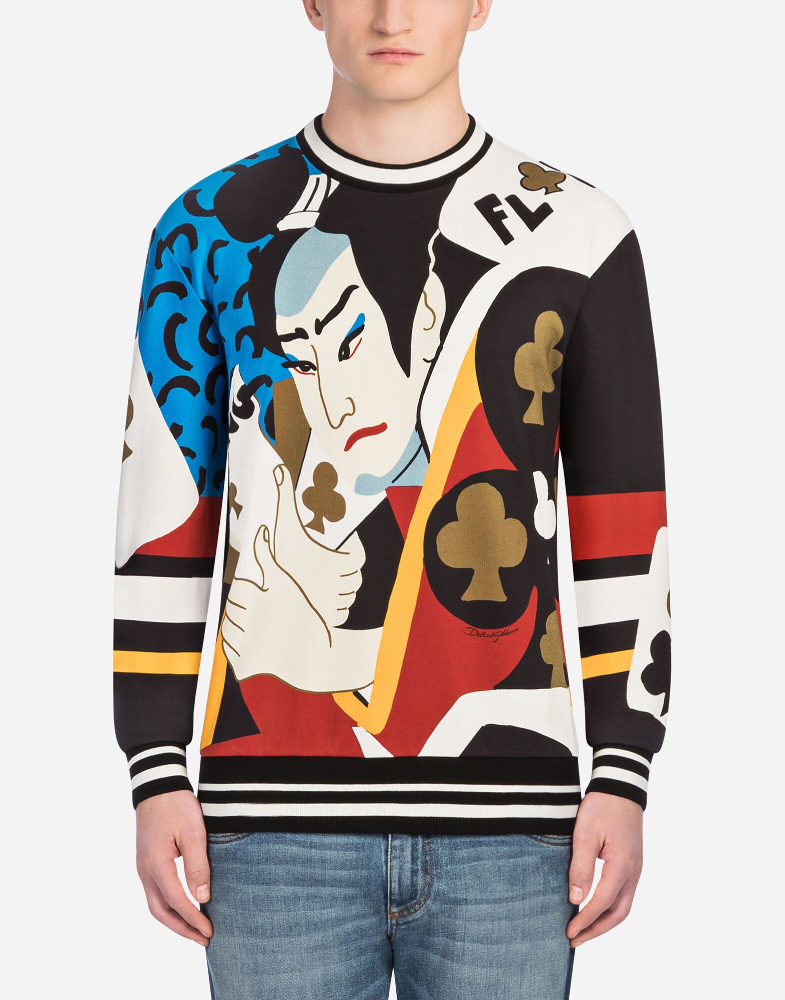 SWEATSHIRT IN PRINTED COTTON from DOLCE & GABBANA