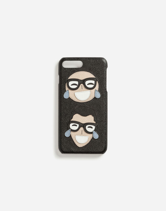 Dolce & Gabbana IPHONE 7 PLUS COVER IN DAUPHINE CALFSKIN WITH DESIGNERS' PATCH