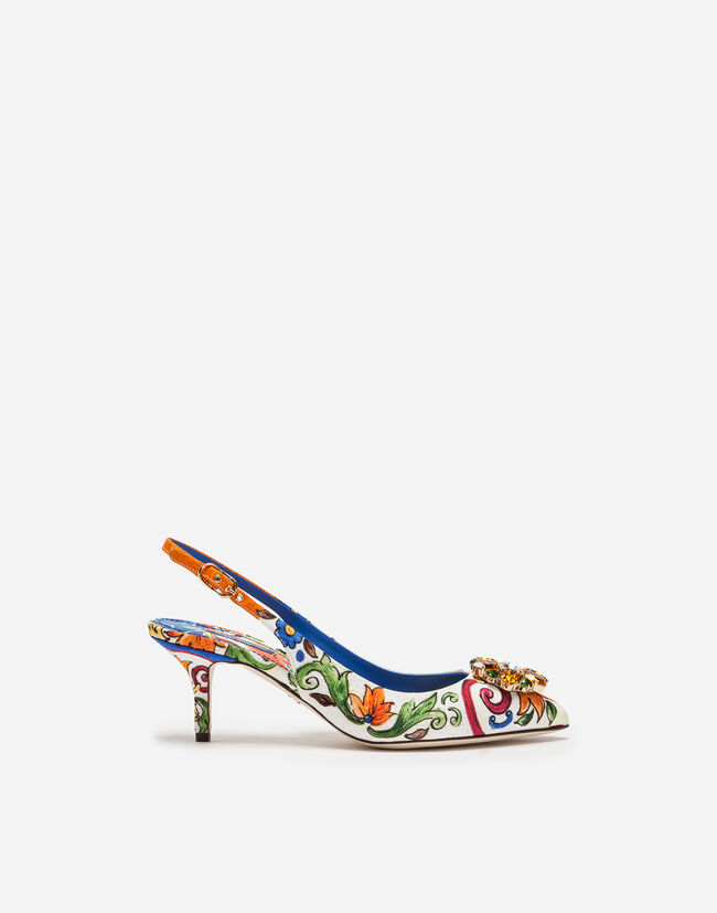 SLINGBACK IN PRINTED BROCADE WITH BROOCH
