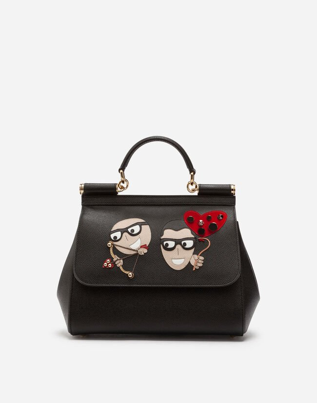 Dolce & Gabbana SICILY HANDBAG IN DAUPHINE CALFSKIN AND DESIGNERS' PATCHES