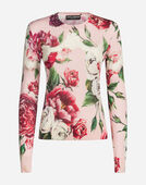 Dolce&Gabbana PEONY-PRINT SILK SWEATER WITH ROUND NECK