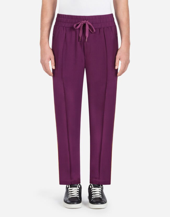 Dolce & Gabbana JOGGING PANTS IN CADY WITH STRIPES