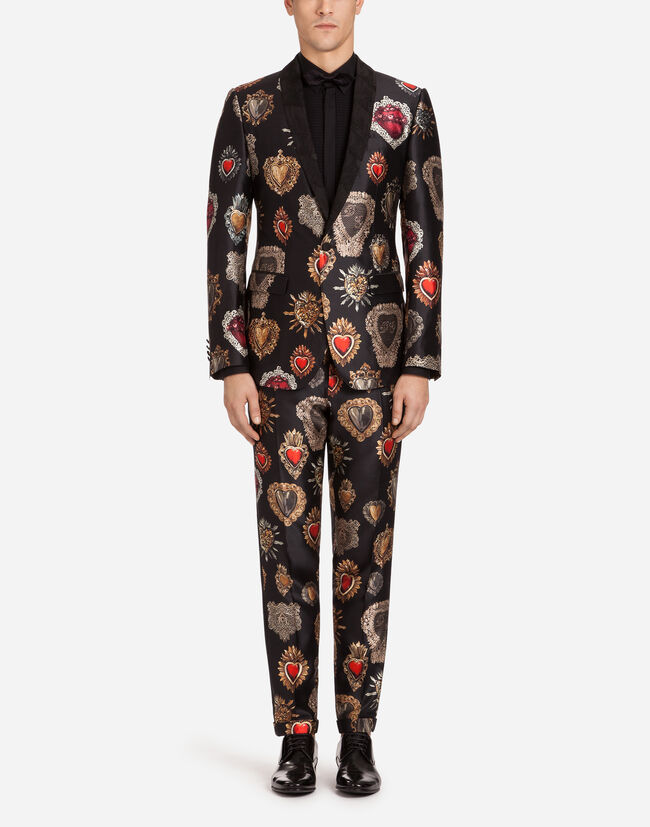 MARTINI FIT SUIT IN PRINTED SHANTUNG SILK