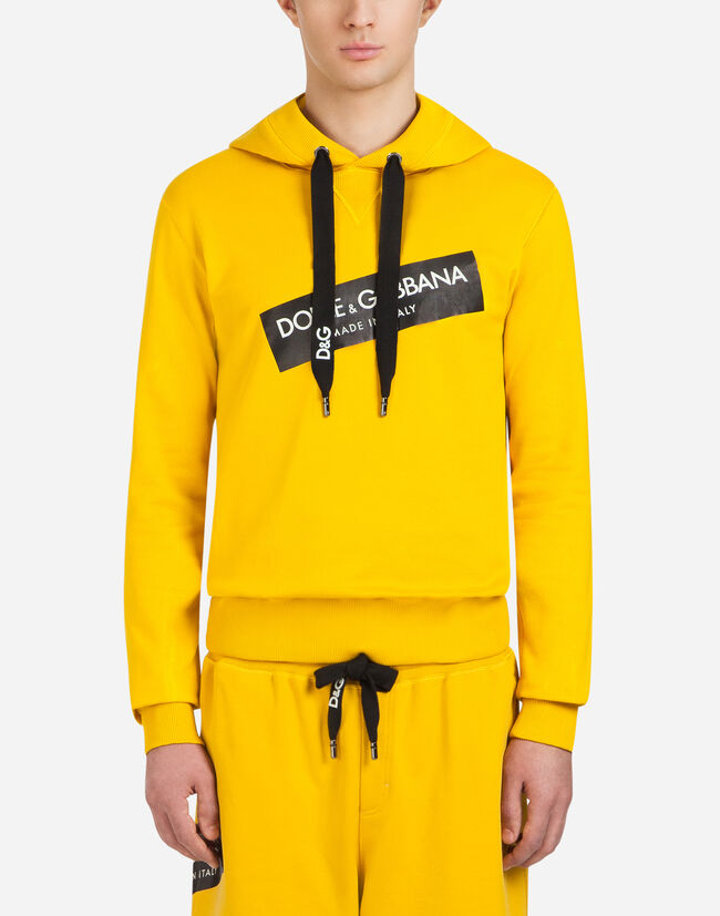 COTTON SWEATSHIRT WITH PATCHES AND HOOD