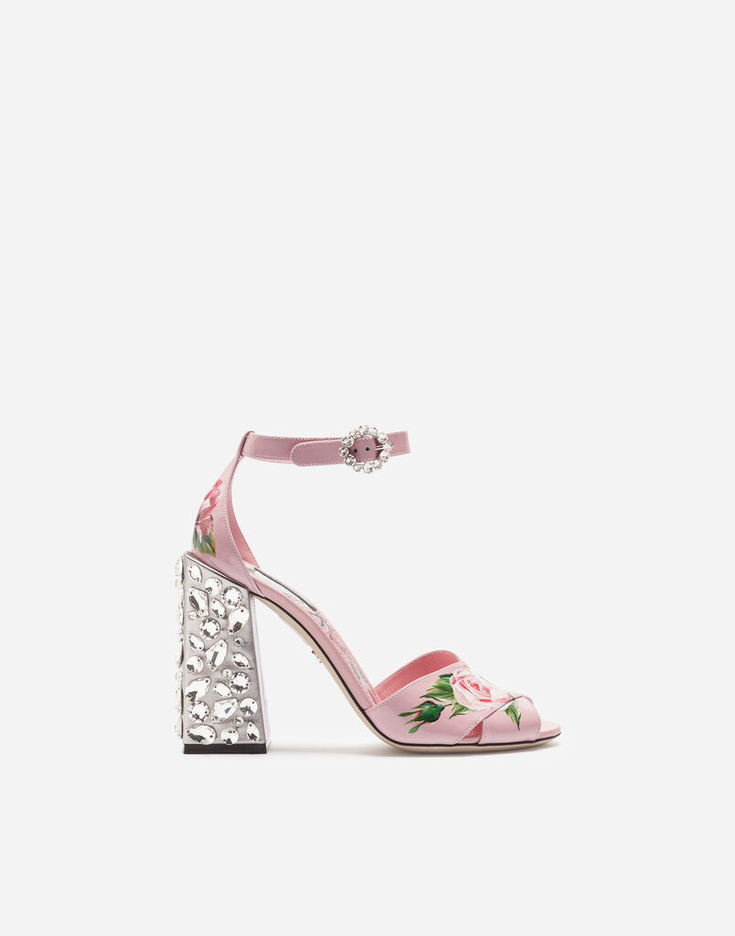Dolce&Gabbana PRINTED PATENT LEATHER SANDALS WITH EMBROIDERED HEEL