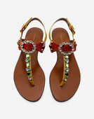 THONG SANDAL IN AYERS SNAKESKIN AND PATENT LEATHER WITH EMBROIDERY