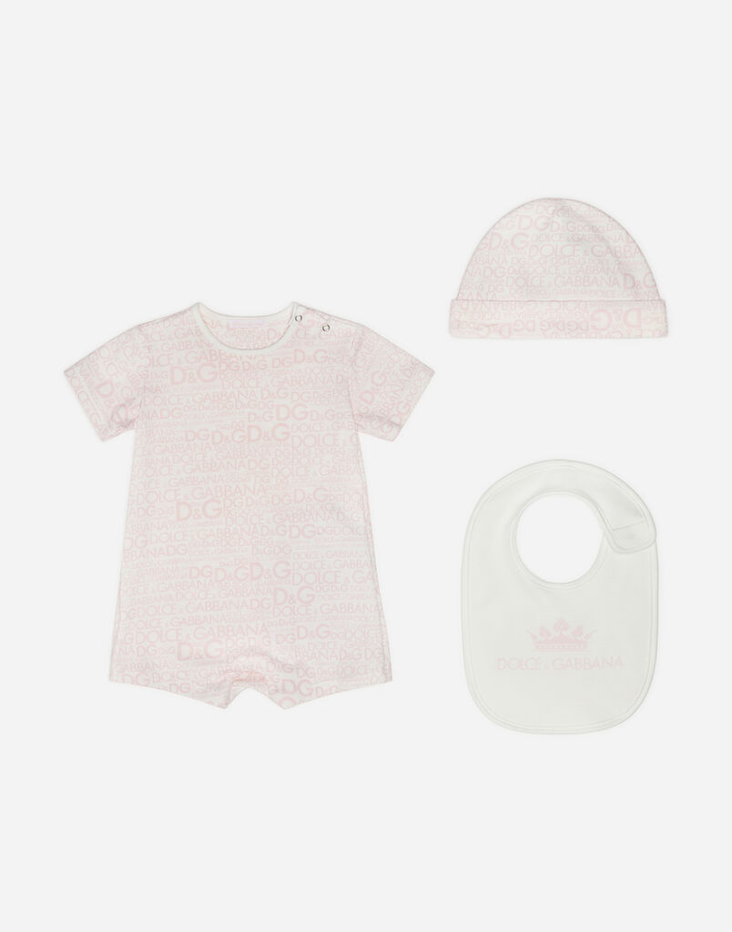 SET WITH BODYSUIT, BIB AND CAP IN PRINTED COTTON