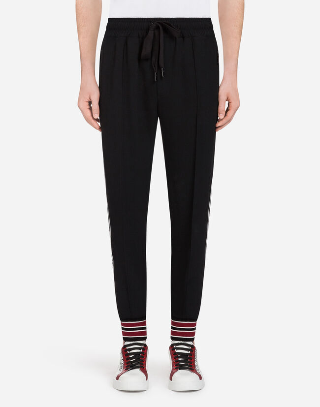 Dolce&Gabbana CADY JOGGING PANTS WITH BRANDED BANDS