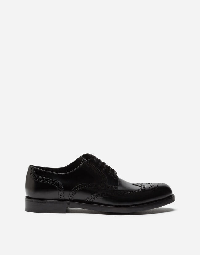 FULL BROGUE DERBY SHOES IN BRUSHED CALFSKIN