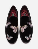 VELVET LOAFERS WITH EMBROIDERY
