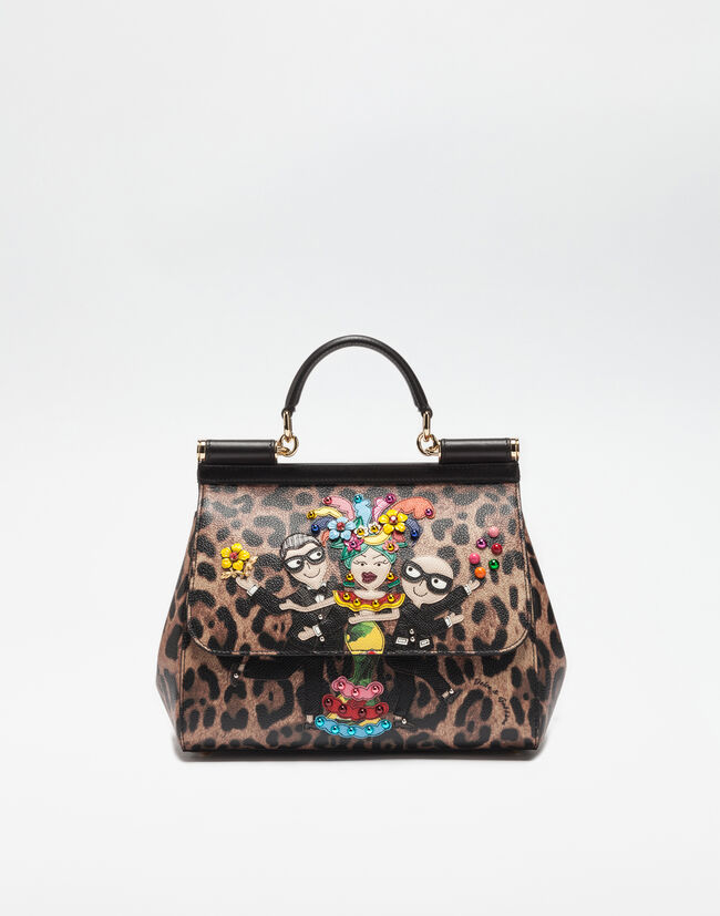 MEDIUM SICILY BAG IN LEOPARD TEXTURED FABRIC WITH DESIGNERS PATCH