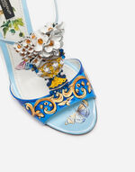 LEATHER SANDAL WITH BEJEWELED EMBROIDERY