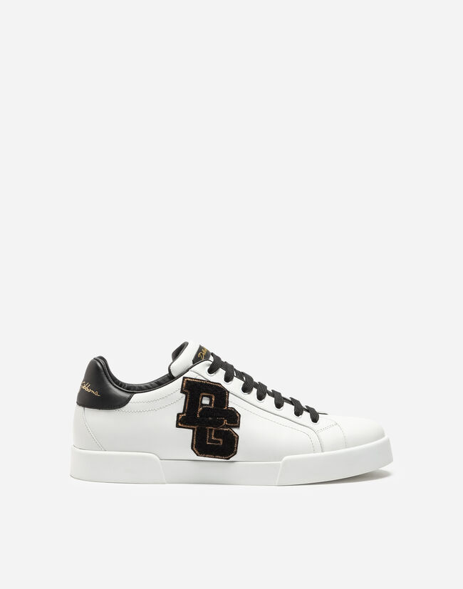 Dolce & Gabbana PORTOFINO SNEAKERS IN NAPPA CALFSKIN WITH PATCHES