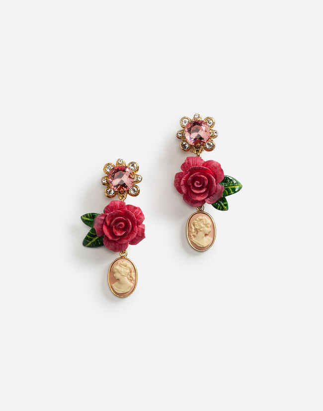 Dolce&Gabbana DROP EARRINGS WITH ROSES