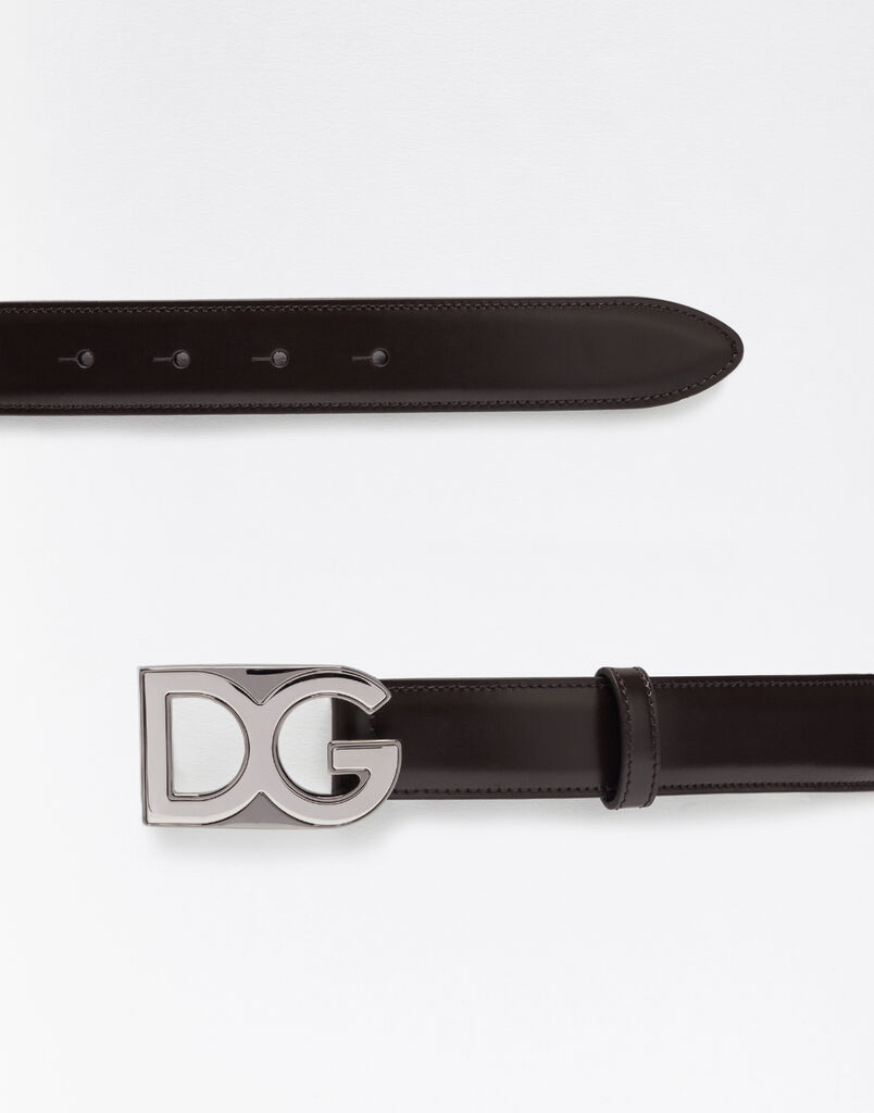 Dolce&Gabbana LEATHER BELT WITH LOGOED BADGE