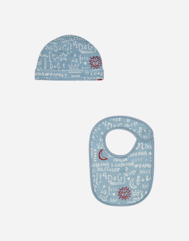 SET WITH BIB AND CAP IN PRINTED COTTON
