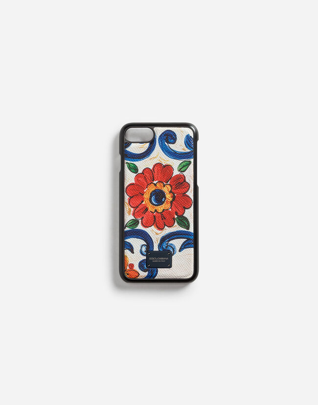 Dolce&Gabbana IPHONE 7/8 COVER IN PRINTED DAUPHINE CALFSKIN