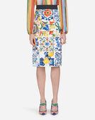 Dolce&Gabbana MAJOLICA-PRINT SILK SKIRT