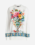 SWEATERSHIRT IN PRINTED COTTON