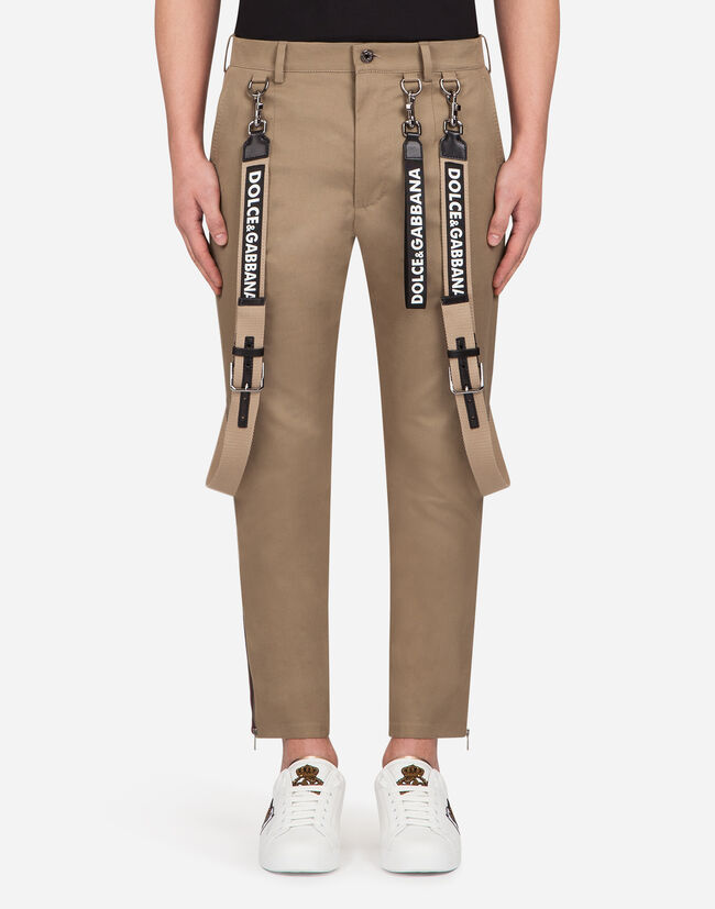 PANTS IN STRETCH COTTON WITH STRIPES AND SUSPENDERS