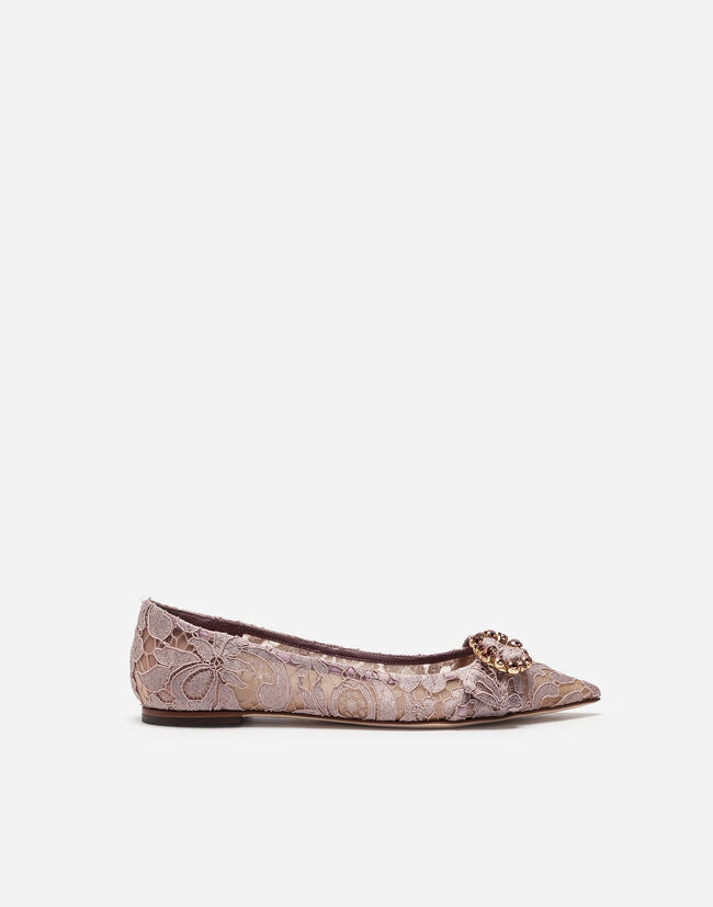 LACE BALLET FLATS WITH BEJEWELED DETAIL