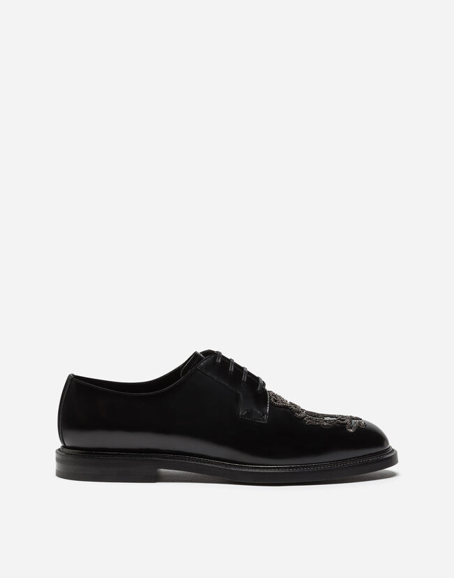 Dolce&Gabbana DERBY IN BRUSHED CALFSKIN WITH EMBROIDERY
