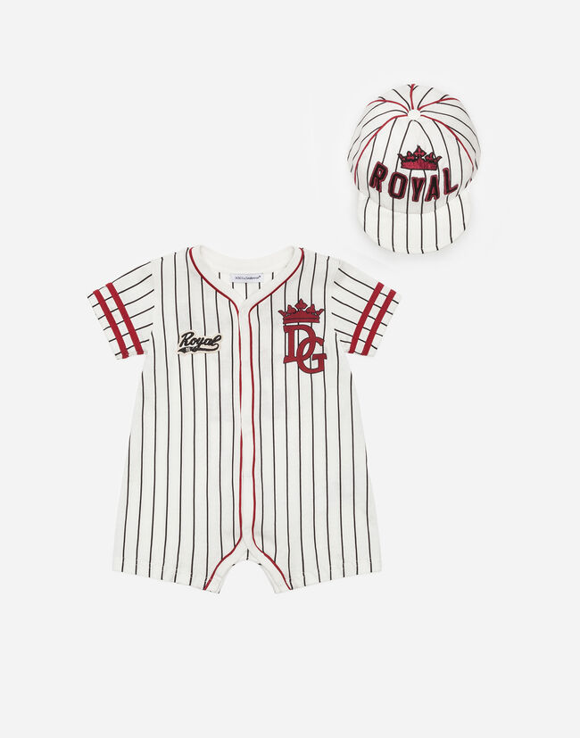 Dolce & Gabbana ONESIE AND BASEBALL CAP SET IN PRINTED COTTON
