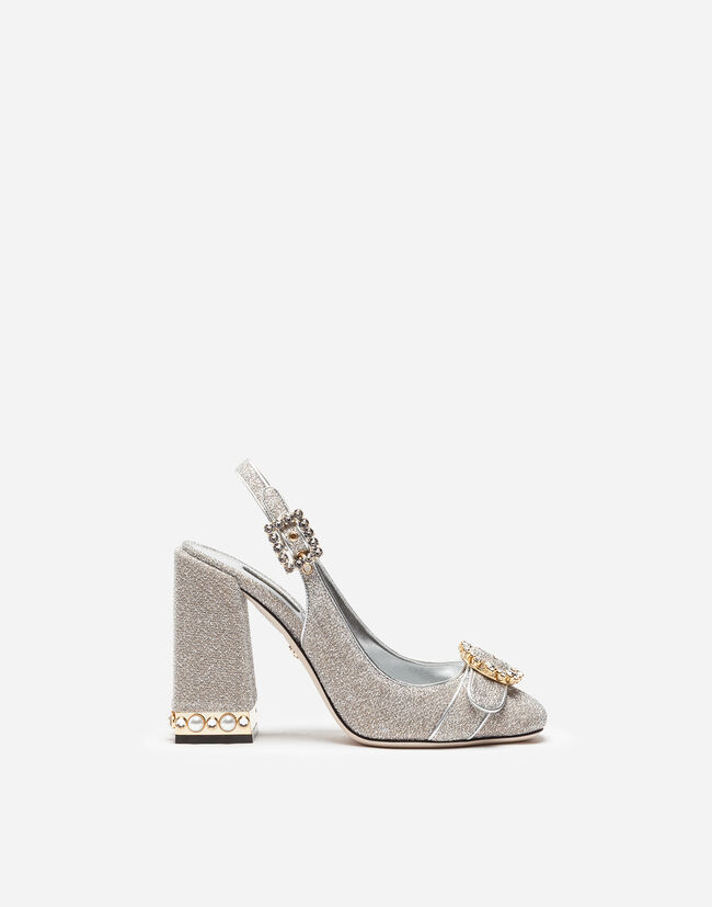 SLINGBACK IN SOFT LUREX WITH JEWEL HEEL