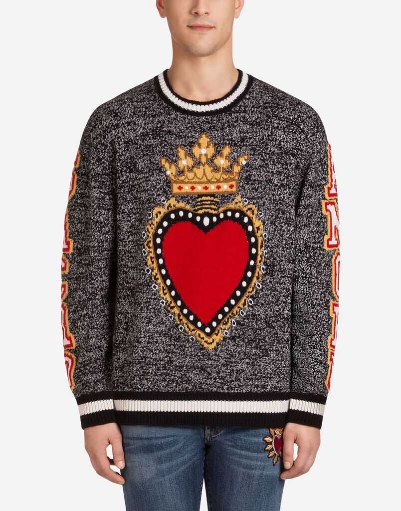 CREW NECK CASHMERE SWEATER WITH INTARSIA HEART