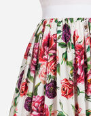 Dolce&Gabbana PEONY-PRINT COTTON SKIRT