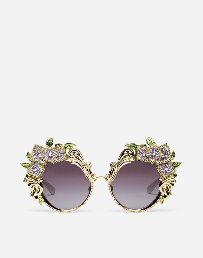 Dolce & Gabbana METAL SUNGLASSES WITH HYDRANGEA EMBELLISHMENT