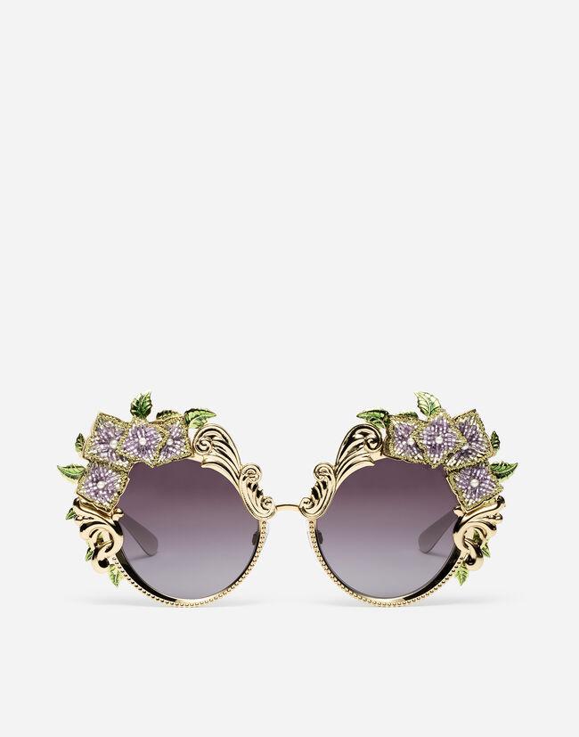 6532696d45a1 Metal Sunglasses With Hydrangea Embellishment - Women