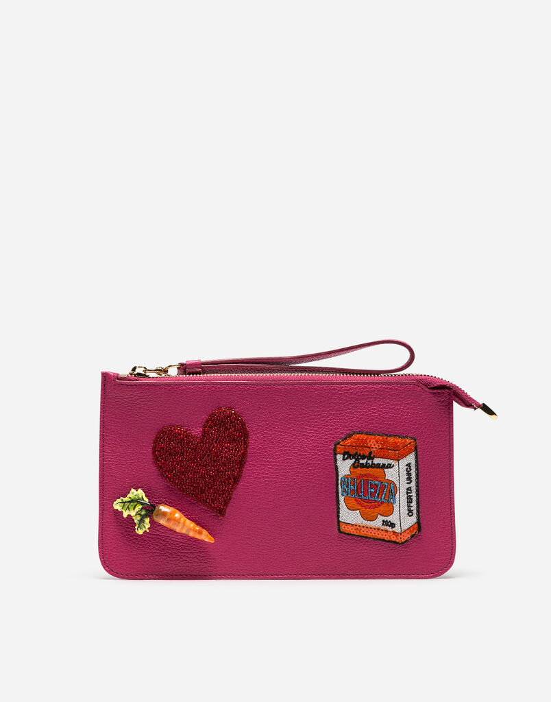 CLUTCH IN DRUMMED CALFSKIN WITH EMBROIDERED PATCHES